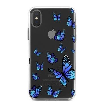 Lopard iPhone Xs Max Kılıf Silikon Arka Koruma Kapak Ucan Kelebekler Desenli Renkli